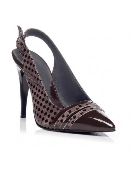 Pantofi Stiletto decupat Piele Maro V3  - orice culoare
