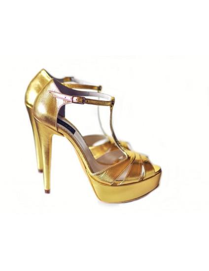 Sandale  Dama Piele Naturala Auriu  - pe stoc