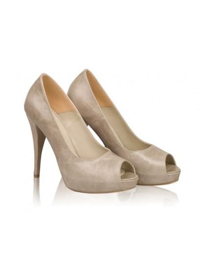 Pantofi dama piele Model N 11 Capucino - disponibili pe orice culoare