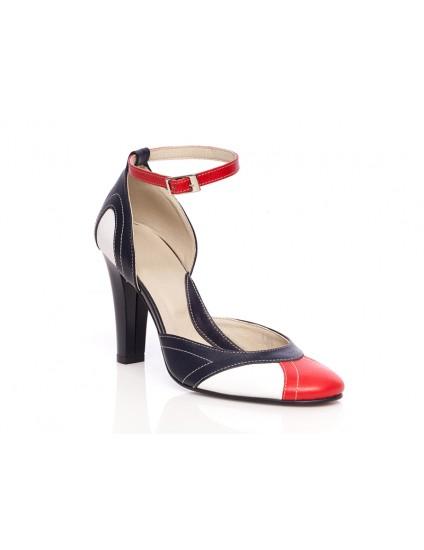 Pantofi dama piele P30 Bleumarin/Rosu - orice culoare