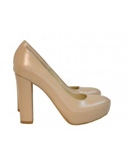 Pantofi nude cu tocul gros 39