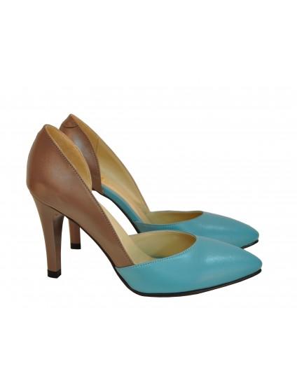 Pantofi dama Stiletto albastri-maro din piele naturala 40