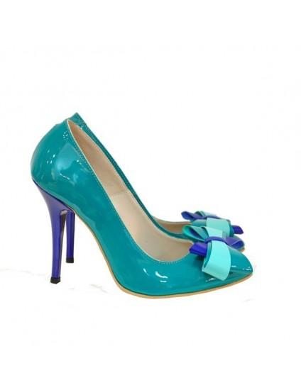 Pantofi piele stiletto Funda Smarald D17