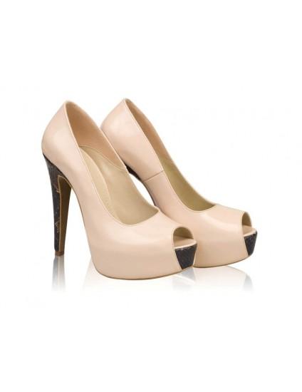 Pantofi dama piele Model N 10   Crem - disponibili pe orice culoare