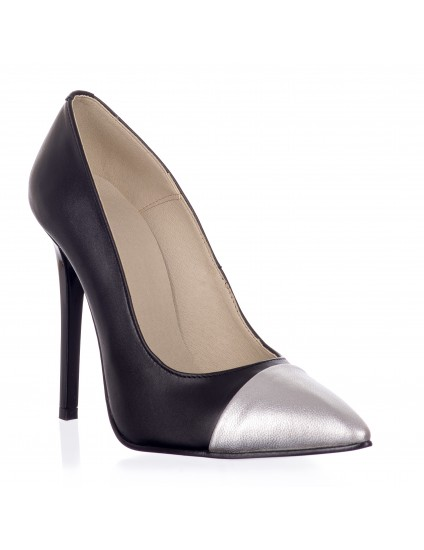 Pantofi Stiletto V2 piele negru cu varf argintiu - pe stoc