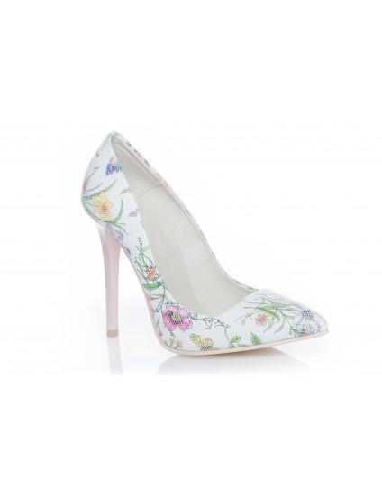 Pantofi Stiletto Very Chic piele Flori  - pe stoc