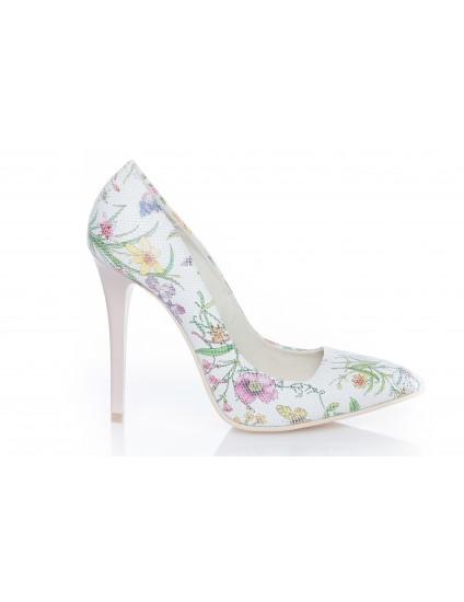 Pantofi Stiletto Very Chic piele Flori  - disponibili pe orice culoare