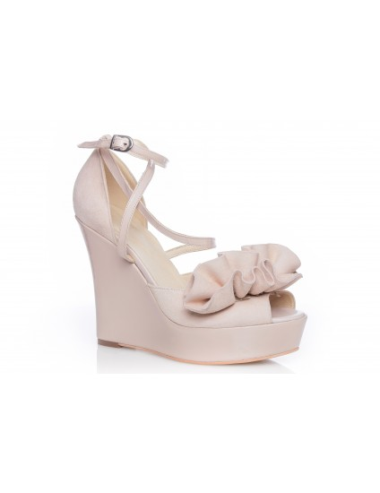 Sandale piele naturala cu platforma ortopedica lacuita Dolly Alb - pe stoc