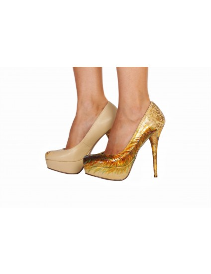 Pantofi Lindi piele naturala pictati manual model 1