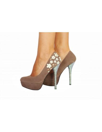 Pantofi Lindi piele naturala pictati manual model 2
