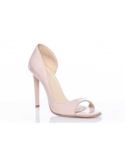 Pantofi Stiletto Fashion Decupat piele lacuita nude - pe stoc