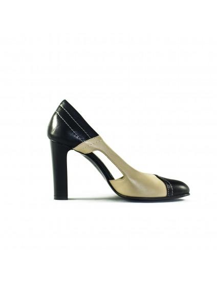Pantofi piele naturala Cuty disponibili pe orice culoare - nude/negru