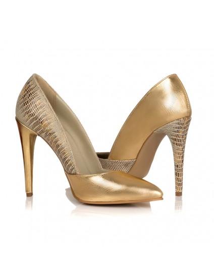 Pantofi Stiletto Croco Auriu I7 - orice culoare