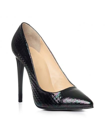 Pantofi Stiletto Croco Negru C1  - pe stoc