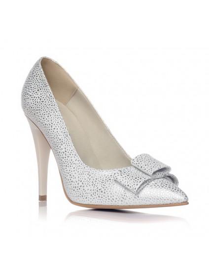 Pantofi Stiletto Piele Model Argintiu V10 - pe stoc