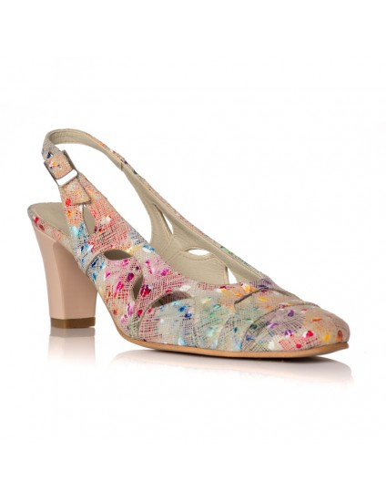 Pantofi dama piele model floral V19 - pe stoc