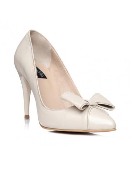 Pantofi Stiletto Fundita piele box nude C18  - pe stoc