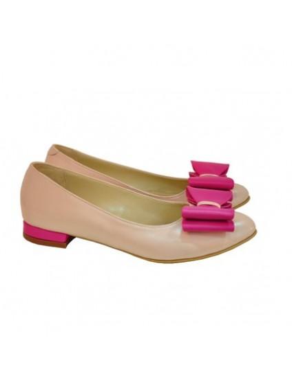 Balerini piele cu funda bej-roze - orice culoare