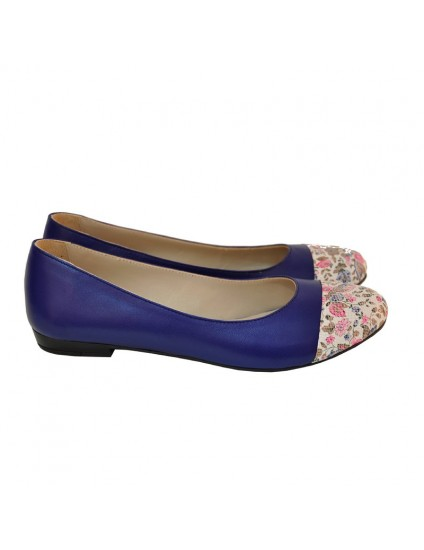 Balerini piele Floral Albastru - orice culoare