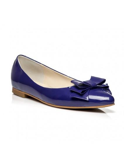 Balerini piele lacuita Albastru C1 - orice culoare