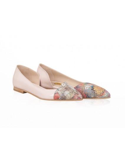 Balerini piele nude/floral Candy N15 - orice culoare