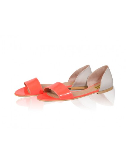 Sandale dama talpa joasa Chic - Piele naturala Corai