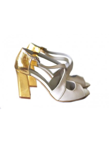 Sandale piele naturala Moni Ivoire/Auriu - Orice culoare