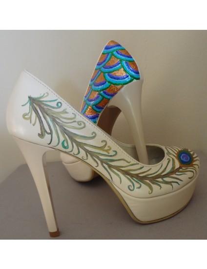 Pantofi Lindi piele naturala pictati manual model 1.3