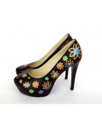 Pantofi Lori piele naturala pictati manual model 2.3