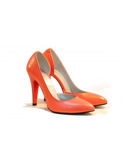 Pantofi dama piele naturala Elegant  Corai- disponibili pe orice culoare