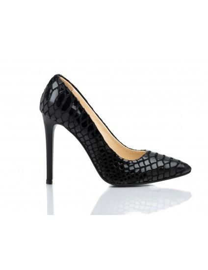 Pantofi Stiletto Very Chic piele snake negru - pe stoc