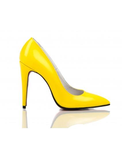 Pantofi Stiletto piele lacuita PP1 galben - orice culoare