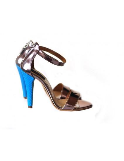 Sandale din Piele Naturala Stylish toc subtire - turcoaz