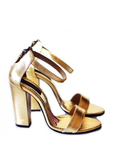 Sandale din Piele Naturala Stylish Auriu