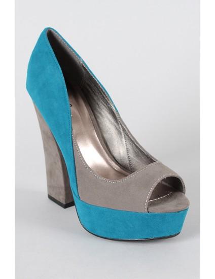 Pantofi decupati Hon, albastru/gri