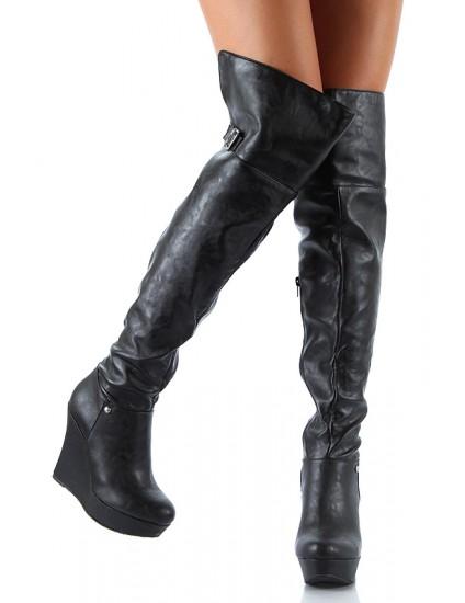 Cizme peste genunchi cu platforma, piele naturala neagra, pe stoc