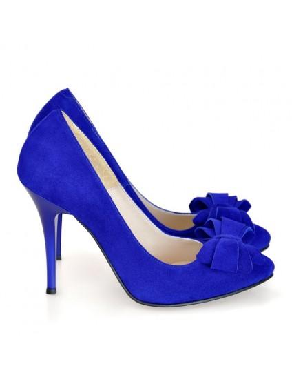 Pantofi piele intoarsa stiletto Funda Albastru D17