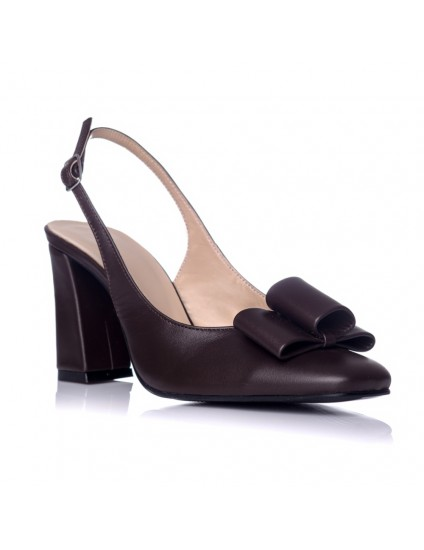 Pantofi Chic Madame decupat Piele Maro - pe stoc