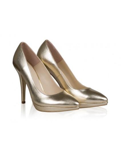Pantofi Piele Stiletto Platforma Auriu N24 - orice culoare