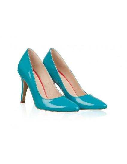 Pantofi stiletto piele lacuita Turcoaz N7 - orice culoare