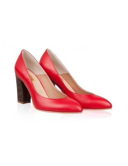 Pantofi Stiletto Toc Gros Rosu N10 - orice culoare