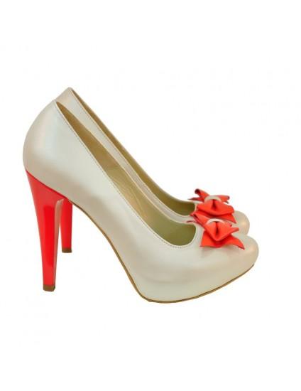 Pantofi piele bej D1 Funda - orice culoare