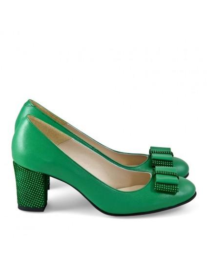Pantofi Piele Verde Office Fundita D20 - orice culoare