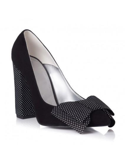 Pantofi Piele Negru Buline Fundita Dubla L24 - orice culoare