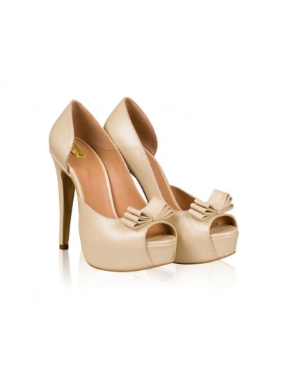 Pantofi dama piele naturala nude N19 - pe stoc