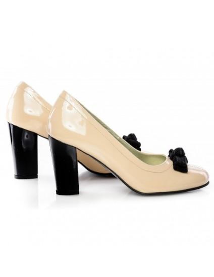 Pantofi Office Piele Lacuita Nude   25