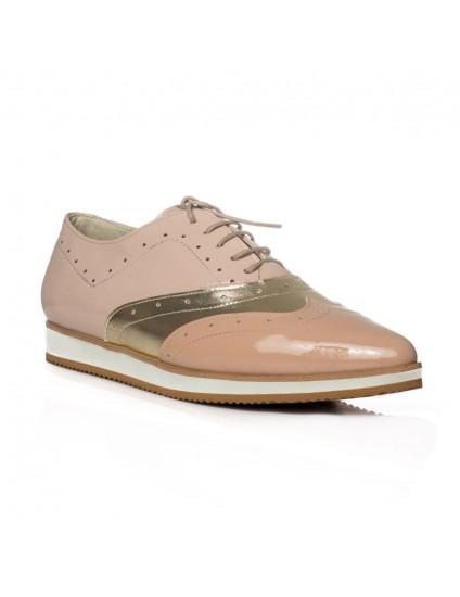 Pantofi piele Oxford Varf ascutit Nude V3  - orice culoare