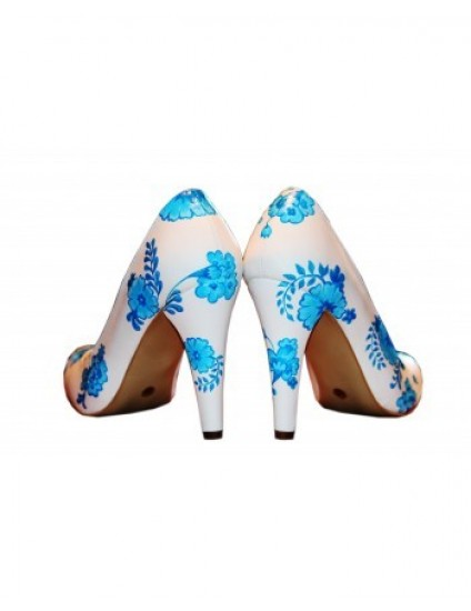 Pantofi pictati manual Blue Flowers - orice culoare