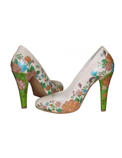 Pantofi pictati manual Green Heels - orice culoare