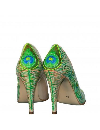 Pantofi pictati manual Paun - orice culoare